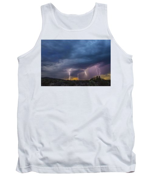 Tank Top featuring the tapestry - textile Sunset Lightning by Kathy Adams Clark
