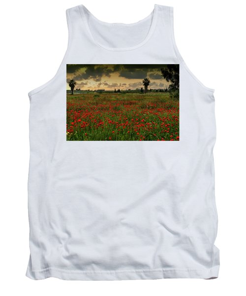 Sunset On A Poppies Field Tank Top
