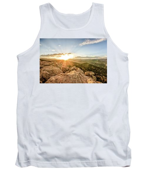 Tank Top featuring the photograph Sunset Over The Mountains Of Flaggstaff Road In Boulder, Colorad by Peter Ciro
