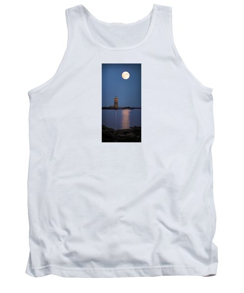 Super Moon Over Whaleback Lighthouse Tank Top by Betty Denise