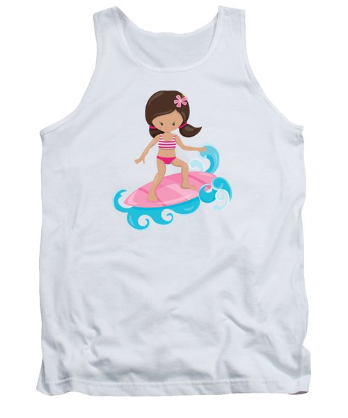 Surfer Art Catch A Wave Girl With Surfboard #19 Tank Top