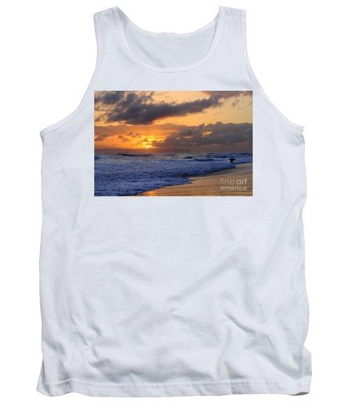 Surfer At Sunset On Kauai Beach With Niihau On Horizon Tank Top