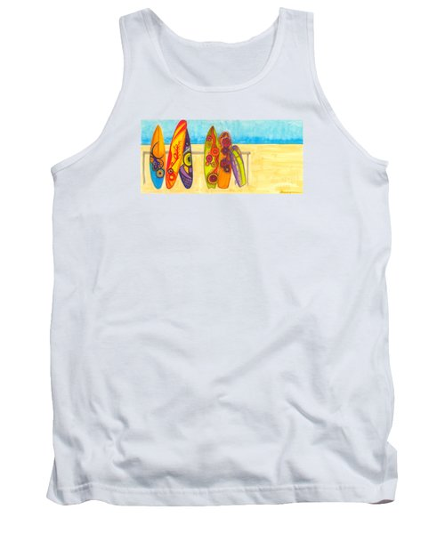 Surfing Buddies - Surf Boards At The Beach Illustration Tank Top