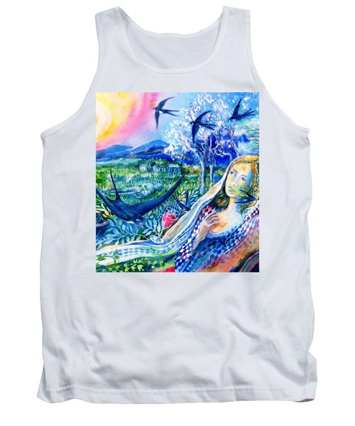 Tank Top featuring the painting Surprised By A Swallow  by Trudi Doyle