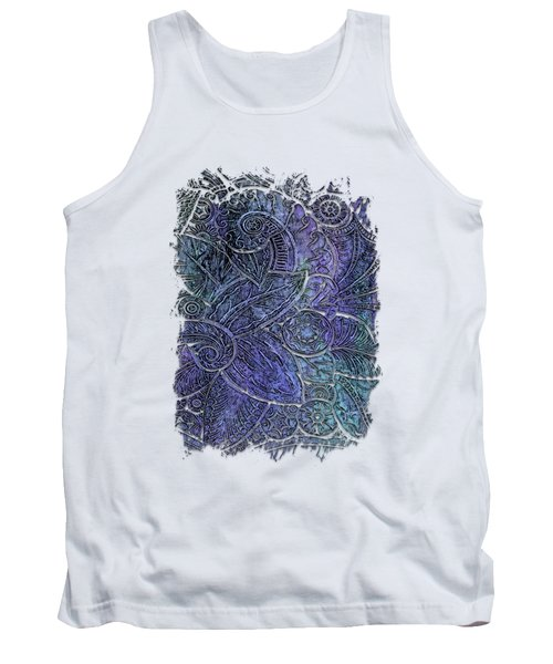 Swan Dance Berry Blues 3 Dimensional Tank Top by Di Designs