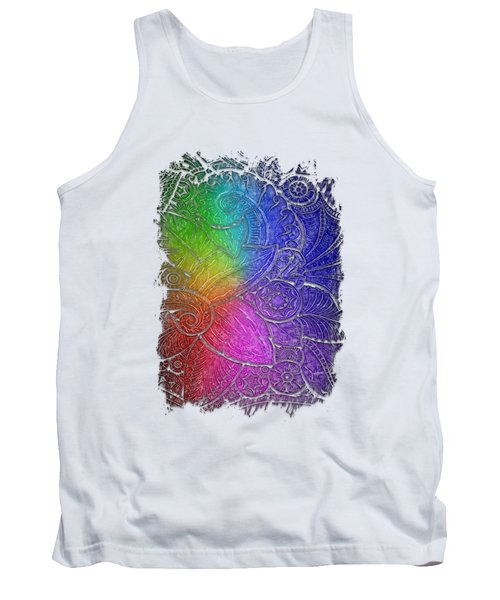 Swan Dance Cool Rainbow 3 Dimensional Tank Top by Di Designs