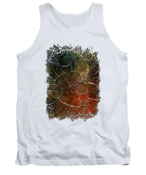 Swan Dance Earthy Rainbow 3 Dimensional Tank Top by Di Designs