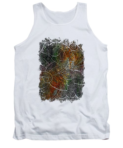 Swan Dance Muted Rainbow 3 Dimensional Tank Top