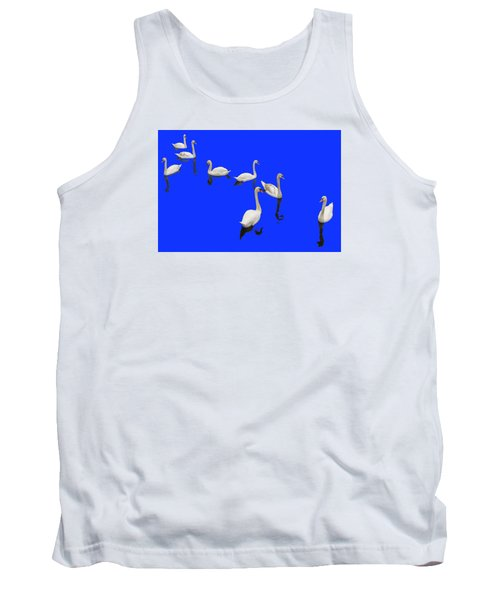 Tank Top featuring the photograph Swan Family On Blue by Constantine Gregory