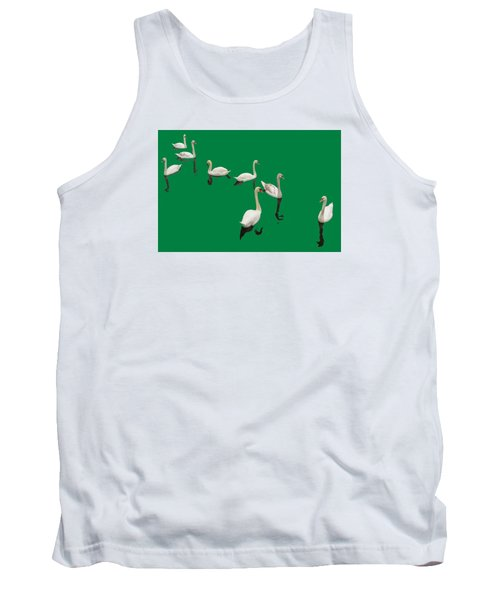 Tank Top featuring the photograph Swan Family On Green by Constantine Gregory
