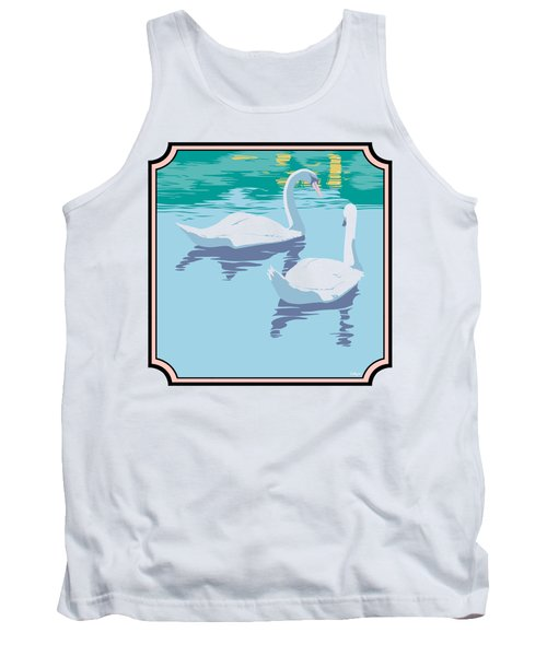 Swans On The Lake And Reflections Absract - Square Format Tank Top by Walt Curlee