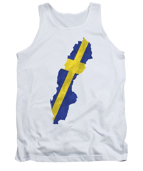 Sweden Map Art With Flag Design Tank Top