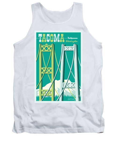 Tacoma Poster - Vintage Style Travel  Tank Top