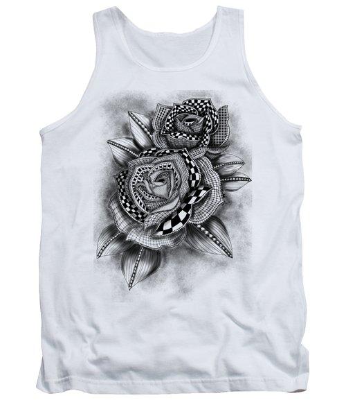 Tattoo Rose Greyscale Tank Top