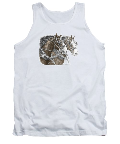 Tank Top featuring the drawing Team Work - Clydesdale Draft Horse Print Color Tinted by Kelli Swan