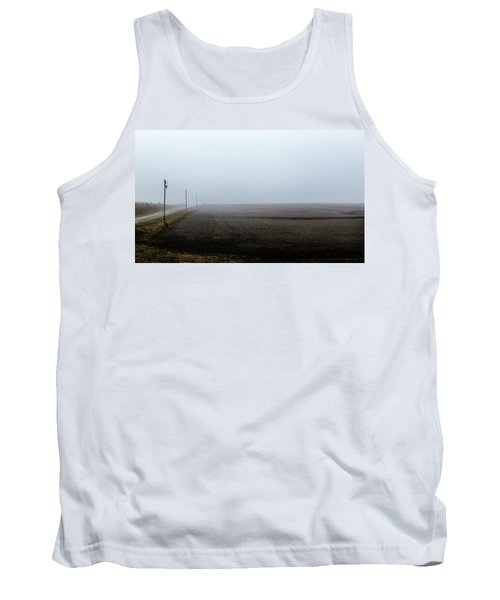 Telephone Poles Along A Foggy Field Tank Top