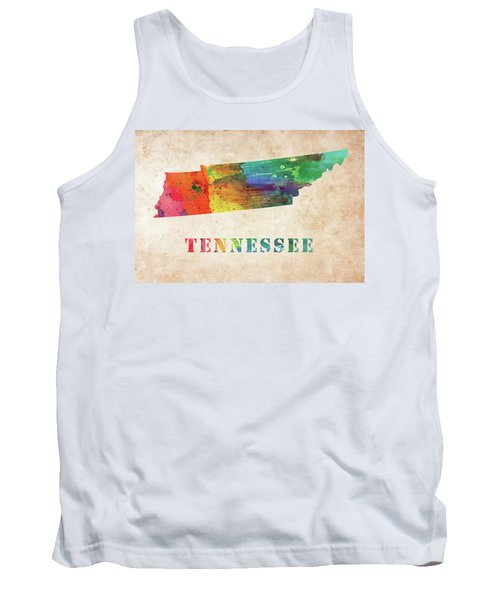 Tennessee Colorful Watercolor Map Tank Top