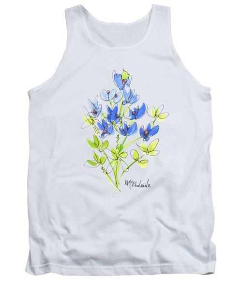 Texas Bluebonnet Botanical Tank Top by Kathleen McElwaine