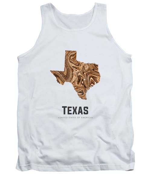 Texas Map Art Abstract In Brown Tank Top