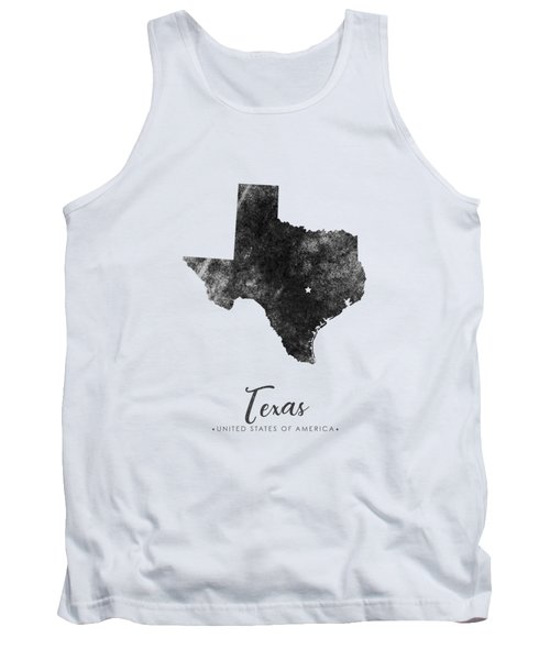 Texas State Map Art - Grunge Silhouette Tank Top