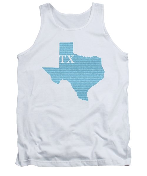 Texas State Map With Text Of Constitution Tank Top