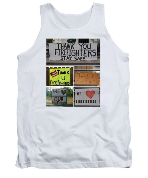 Thank You Firefighters Collage Tank Top by Patricia Strand