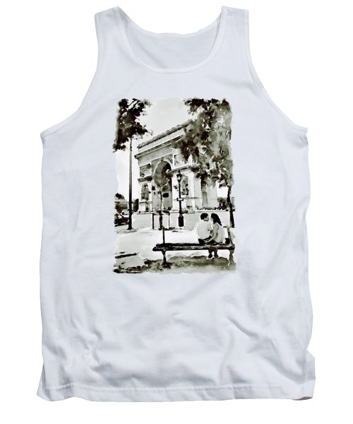 The Arc De Triomphe Paris Black And White Tank Top by Marian Voicu