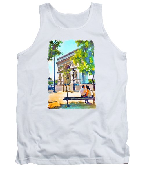 The Arc De Triomphe Paris Tank Top by Marian Voicu