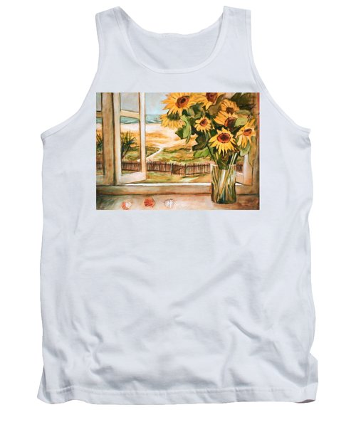 The Beach Sunflowers Tank Top by Winsome Gunning