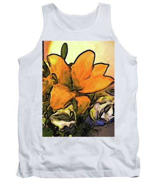 The Big Gold Flower And The White Roses Tank Top