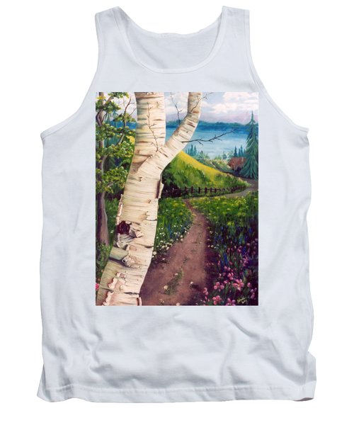 Tank Top featuring the painting The Birch by Renate Nadi Wesley