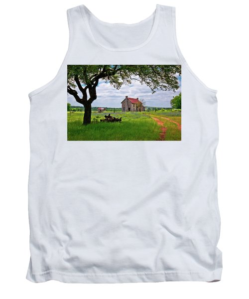 Tank Top featuring the photograph The Bluebonnet House by Linda Unger
