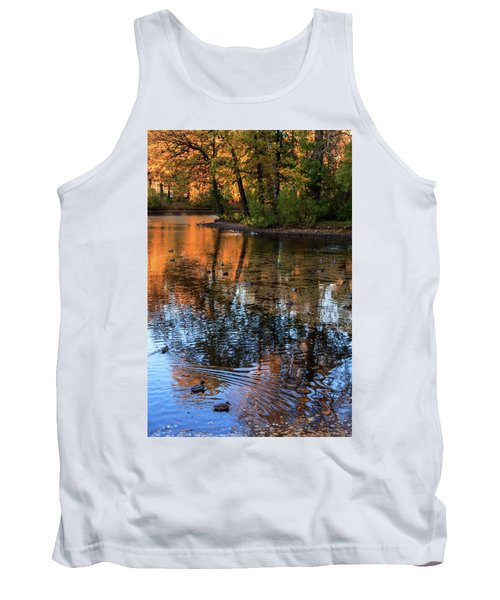 The Bright Colors Of Autumn, Quiet Evenings Are Reflected In The Waters Of The City Pond Tank Top