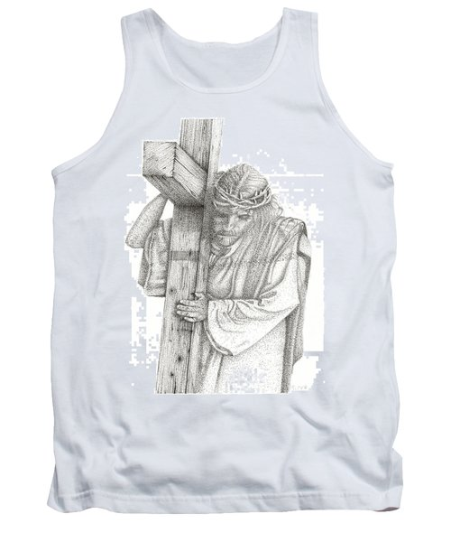 Tank Top featuring the drawing The Cross by Mayhem Mediums