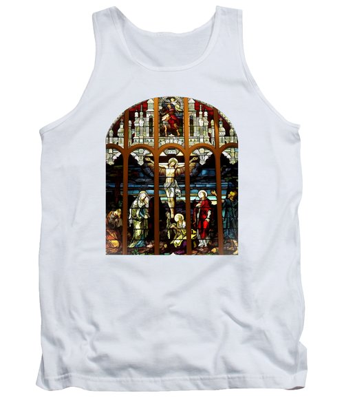 The Crucifixion Of Jesus On Good Friday Stained Glass Window Tank Top