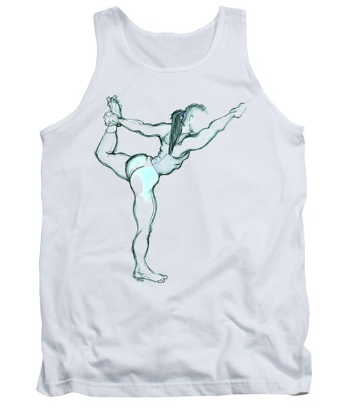 Tank Top featuring the mixed media The Dancer - Yoga Pose by Carolyn Weltman