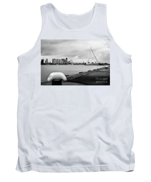 Tank Top featuring the photograph The Erasmus Bridge In Rotterdam Bw by RicardMN Photography