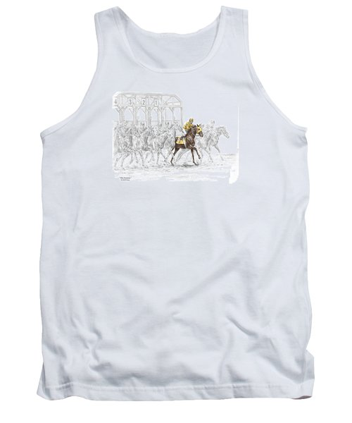 Tank Top featuring the drawing The Favorite - Thoroughbred Race Print Color Tinted by Kelli Swan
