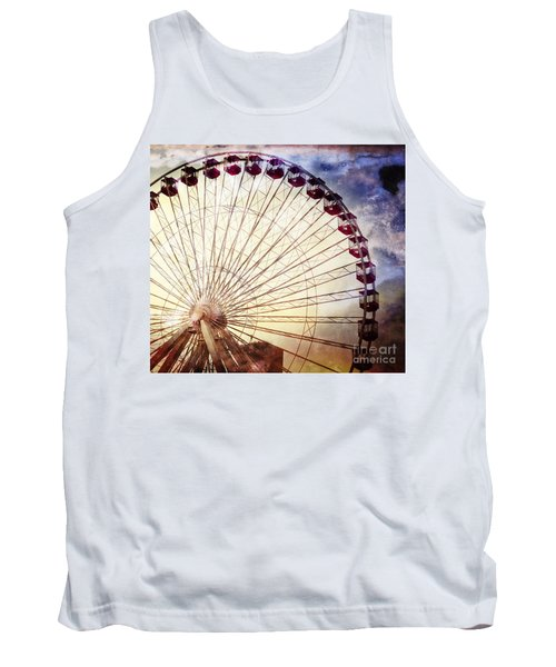 The Ferris Wheel At Navy Pier Tank Top by Mary Machare
