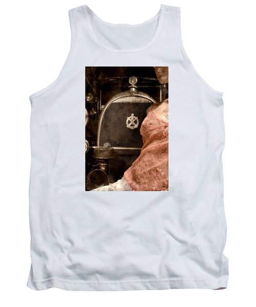 Tank Top featuring the photograph The Girl On The Background Of Vintage Car. by Andrey  Godyaykin