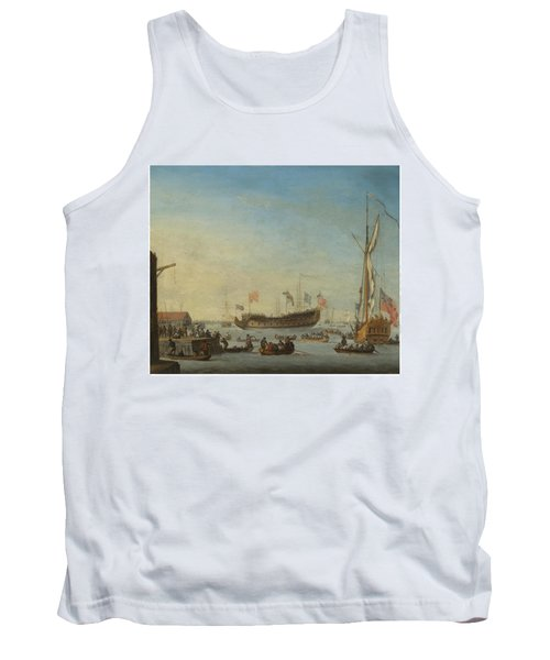 The Launch Of A Man Of War Tank Top by Robert Woodcock