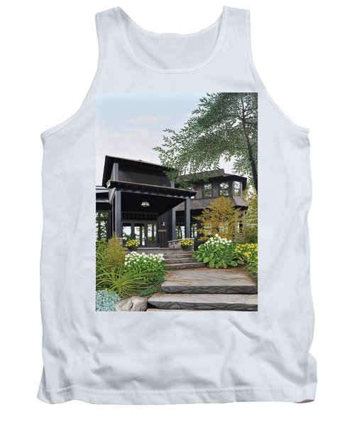 Tank Top featuring the painting The Lodge At Fawn Island by Kenneth M Kirsch