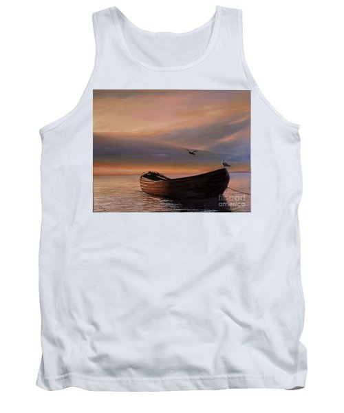 Tank Top featuring the painting A Lone Boat by Rosario Piazza