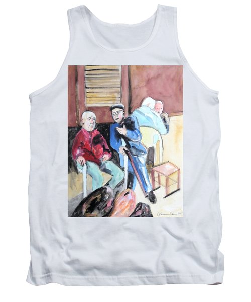 Tank Top featuring the painting The Market Parliament by Esther Newman-Cohen