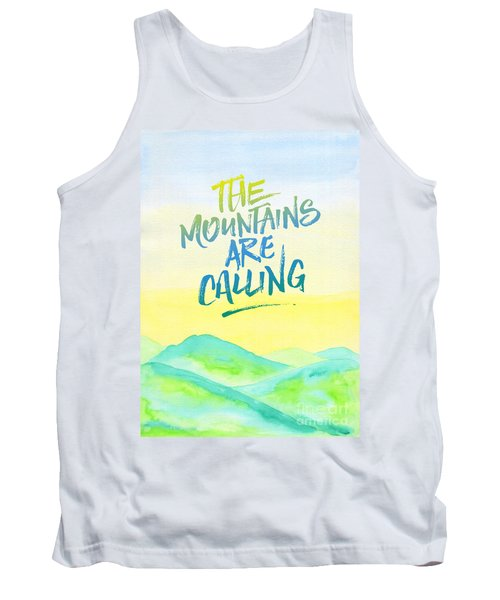 The Mountains Are Calling Yellow Blue Sky Watercolor Painting Tank Top