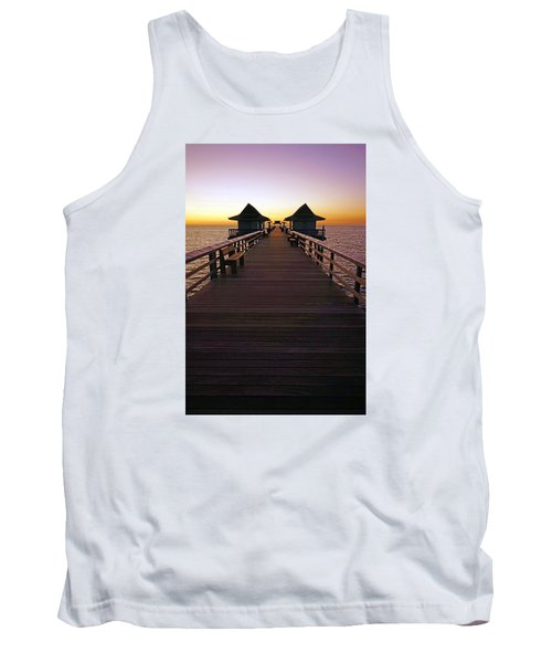 Tank Top featuring the photograph The Naples Pier At Twilight by Robb Stan