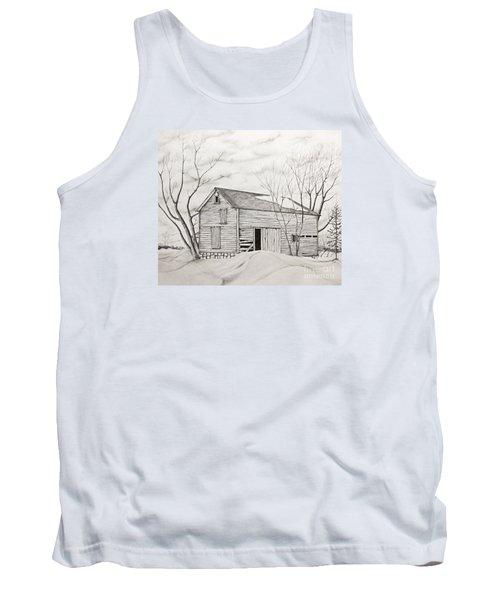 Tank Top featuring the drawing The Old Barn Inwinter by John Stuart Webbstock