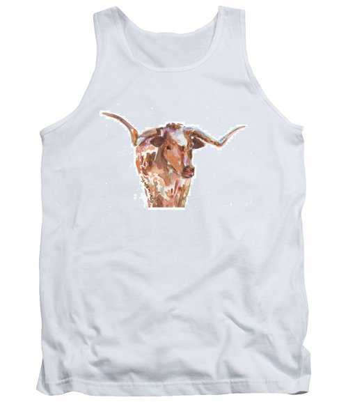 The Original Longhorn Standing Earth Quack Watercolor Painting By Kmcelwaine Tank Top by Kathleen McElwaine