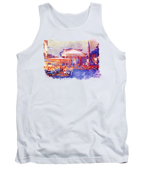 The Pantheon Rome Watercolor Streetscape Tank Top by Marian Voicu