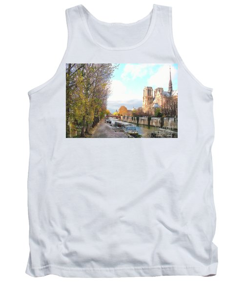 The Seine And Quay Beside Notre Dame, Autumn Tank Top by Felipe Adan Lerma